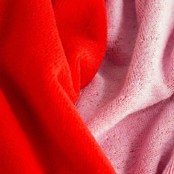 Doubleface Frottee/ Velour rot/rosa